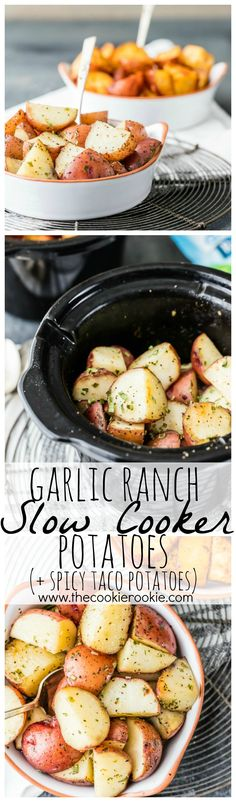 Garlic Ranch Slow Cooker Potatoes Plus Spicy Taco Potatoes.Mind Blown Best And Easiest Side Dish Ever Crock Pot Cooking, Crock Pot Slow Cooker, Slow Cooker Recipes, Cooking Recipes, Slow Cooker Potatoes, Crock Pot Potatoes, Ranch Potatoes, Vegetarian Recipes, Healthy Recipes