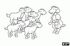 Pintar La mare de les set cabretes les avisa que no obrin a ningú mentre ella sigui fora de casa per anar a comprar