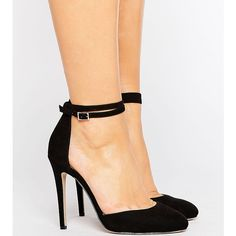 ASOS PLAYDATE Wide Fit High Heels ($40) ❤ liked on Polyvore featuring shoes, pumps, black, prom shoes, black shoes, black high heel pumps, shiny black shoes and black ankle strap pumps