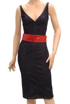 DOLCE & GABBANA D&G Womens Knee Length Dress Dark Denim Blue Cotton. #dolcegabbana #cloth #