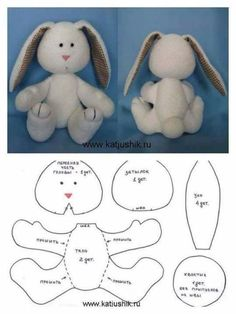 17 Rabbit Molds for Easter Crafts - Watch Now! - 17 Bunny Crafts for Easter Crafts – Watch Now ! Sewing Stuffed Animals, Stuffed Animal Patterns, Bunny Crafts, Easter Crafts, Sewing Crafts, Sewing Projects, Teddy Bear Sewing Pattern, Teddy Bear Patterns, Softie Pattern