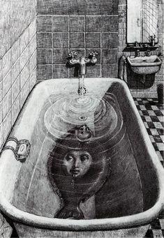 Illustration by Edward Gorey Edward Gorey, Art Bizarre, Creepy Art, Weird Art, Creepy Paintings, Weird Drawings, Art Drawings, Art Sinistre, Arte Obscura