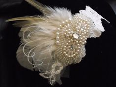 Lace garter Ivory garter Hints of Champagne Feather by yanethandco, $48.00