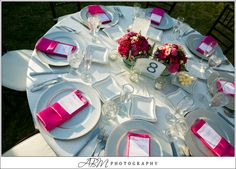 Hot Pink table setting  Photo Credit ABM Photography