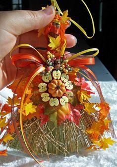 Autumn Equinox:  Autumn Bounty Mini Besom Broom, for the #Autumn #Equinox. EarthStarStudios.