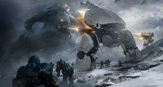 Batalhas, robôs e soldados futuristas nas ilustrações de ficção científica de Park Jong Won a.k.a. J.C.Park