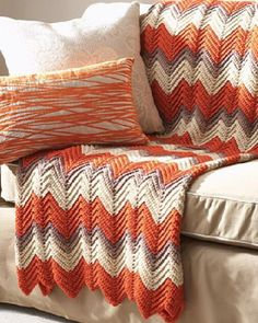 I think I would make this crochet afghan pattern in blues or greens instead of orange.