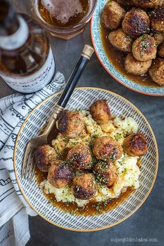 These herby pork meatballs in ale gravy are well worth the effort. Destined to become your favourite family meal served over mash.