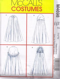 McCalls 4698 Sewing Pattern Gothic Medieval Cloak Cape Halloween Costume Plus size large, xlg Bust 38, 40, 42, 44 op Etsy, 5,29 €