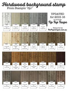 via Jess Williams, from www.thepapercaper.com.au New & improved, UPDATED for Stampin' Up!'s TIP TOP TAUPE, Hardwood colour reference chart ...