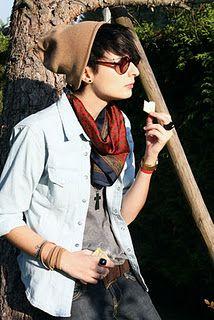beanie + sunglasses + scarf + shirt