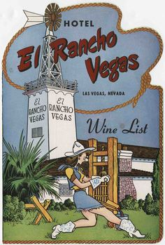"""The wine list for the Hotel El Rancho in Las Vegas, circa 1950-1980.  Here, an illustrated woman in a cowgirl costume is seen operating a wine press with the hotel in the background.  Image is part of UNLV Libraries """"Menus: The Art of Dining"""" digital collection."""