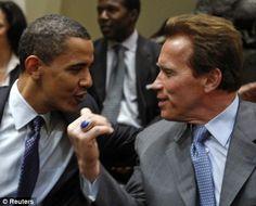 Barack Obama with Arnold Schwarzenegger