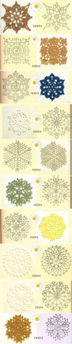 Best Crochet Designs crochet motifs, to join for a big bed cover or to make lacy curtains, or to use alone as coasters, doilies or tree decoration. Crochet Motifs, Crochet Diagram, Crochet Chart, Crochet Squares, Thread Crochet, Crochet Doilies, Crochet Flowers, Crochet Stitches, Crochet Patterns