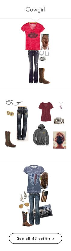 """""""Cowgirl"""" by rebelleader304 ❤ liked on Polyvore featuring MEK DNM, Cowgirl Justice, Crystal Clear Skincare, Montana Silversmiths, Justin Boots, American Eagle Outfitters, Carhartt, Nocona, POLICE and Dollhouse"""