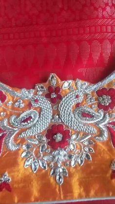 Cutwork Blouse Designs, Simple Blouse Designs, Bridal Blouse Designs, Blouse Patterns, Indian Embroidery Designs, Bead Embroidery Patterns, Embroidery Works, Zardosi Embroidery, Blouse Designs Catalogue