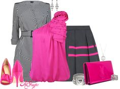 """Charcoal and Hot Pink Contest"" by kginger ❤ liked on Polyvore"