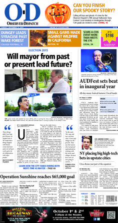 The front page for Sunday, Sept. 13, 2015: Will mayor from past or present lead future?
