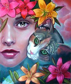 Italia Ruotolo born in Naples, Italy. Ruotolo's work is a broad range of pop art and art nouveau. Art And Illustration, Arte Pop, Portrait Male, Desenho Tattoo, Art Academy, 5d Diamond Painting, Diamond Art, Woman Face, Cat Art