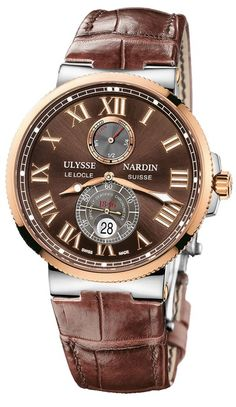Ulysse Nardin Marine Chronometer - Stainless Steel case with 18 carat Rose gold bezel. Water Resistant to 200m, Power Reserve indicator, Oversize seconds-hand, self-winding. Screw-down security crown. Sapphire crystals. Brown dial. Leather strap with folding buckle. Model# 265-67/45 http://maddalonijewelers.com/jewelry/timepieces/?filter_product_brand=37