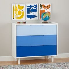 Love this idea for our vintage dresser.  Chromatic 3-Drawer Dresser (Blue)  | The Land of Nod