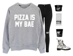 """pizza is bae."" by kayladxnielle ❤ liked on Polyvore featuring Topshop and Dr. Martens"