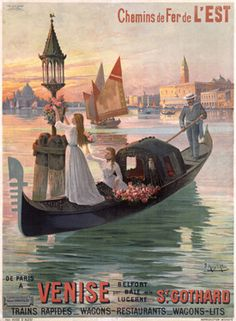 Venise by D'Ales 1900 France - Beautiful Vintage Poster Reproduction. This vertical French travel poster features 2 women in a gondola stopping to hang flowers on a buoy with a lantern with sailboats behind them. Vintage Advertisements, Vintage Ads, Vintage Prints, French Vintage, Vintage Italian Posters, Vintage Travel Posters, Venice Travel, Italy Travel, Etiquette Vintage