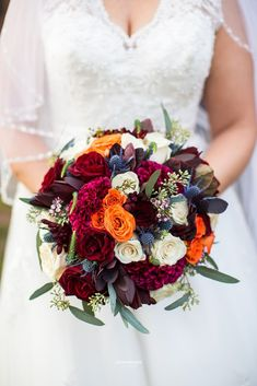 The bride wanted to make sure the decor was a perfect blend of Southern elegance and modern Fall. Colors ranged from burgundy and navy, to fuchsia with pops of pumpkin orange. November Wedding Flowers, September Wedding Colors, Orange Wedding Flowers, Fall Wedding Bouquets, Fall Wedding Colors, Autumn Wedding, Floral Wedding, October Wedding, Navy Orange Weddings