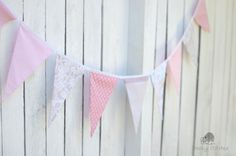 Vintage pink bunting dusty pink banner flags by CheekyStitches