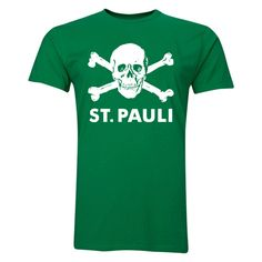 St Pauli Skull and Crossbones T-Shirt (Green) #Sport #Football #Rugby #IceHockey