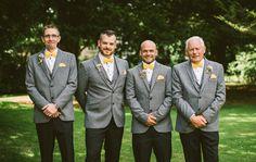 Groomsmen Chinos Tweed Jeackets Bow Ties Quirky Modern Yellow Grey City Wedding http://jenmarino.com/