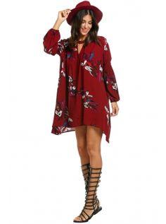 Women Bohemian Lantern Sleeve Floral Print High Low Hem Loose Dress