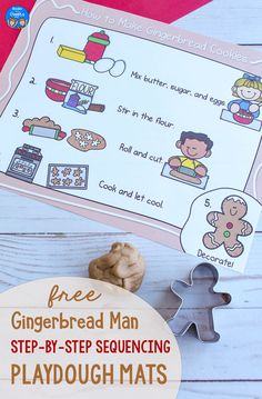 These free printable playdough mats support sequencing of events, an important early literacy skill. Use this fun gingerbread activity with preschool or kindergarten kids this winter! Story Sequencing, Sequencing Activities, Book Activities, Gingerbread Man Book, How To Make Gingerbread, Preschool Christmas, Toddler Christmas, Literacy Skills, Early Literacy