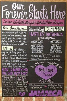 Display your love story AND all of the must-know details of your big day on one sign