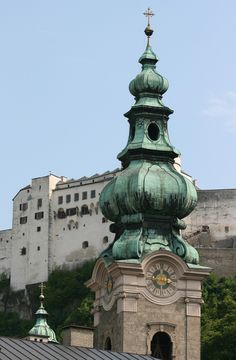 The tower of St. Peter's church in Salzburg, Austria.