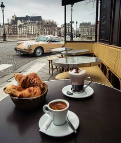 Breakfast in paris: Coffee & croissants, France. I Love Coffee, Coffee Break, My Coffee, Morning Coffee, Costa Coffee, Drink Coffee, Starbucks Coffee, Coffee Town, Coffee In Paris
