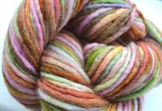 Hand dyed yarn Pre-Spun Multicolored British Bluefaced Leicester roving yarn unique multicoloured knitting supplies by ILovePinkGeraniums on Etsy https://www.etsy.com/listing/202658083/hand-dyed-yarn-pre-spun-multicolored