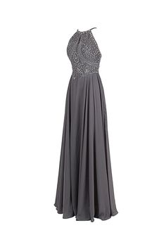 Gray Chiffon Backless Cheap Long Evening Prom Dress