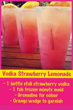 Vodka Strawberry Lemonade- 1 bottle strawberry stoli vodka, 1 can minute made lime or lemonade, Grenadine to add colour and orange, lemon, or lime wedge for garnish