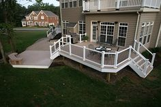 white and black railing on deck