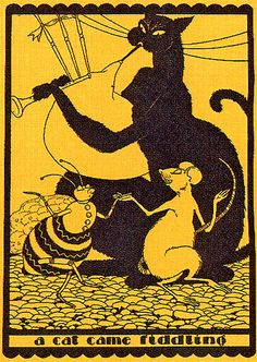 vintage children's illustration (cat playing bagpipes??)