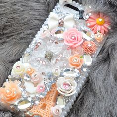 Custom iphone 5 rhinestone case in Peach Paris by DemiGoddessCo, $59.00