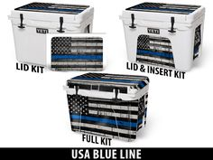 USA BLUE LINE USA Tuff Premium Designs Available on All Make/Model Coolers at www.usatuff.com #YETI #RTIC #ORCA #IGLOOSPORTSMAN #GRIZZLY #PELICAN #BISON #K2 #CoolerAccessories