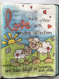 Romans 12:10 ESV Journaling Bible with Inktense pencils and Micron pens. #BriahBatAryeh