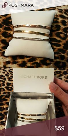 Micheal kors bangle Micheal kors tricolor 3pc set .. CANT BEAT THE PRICE Michael Kors Jewelry Bracelets