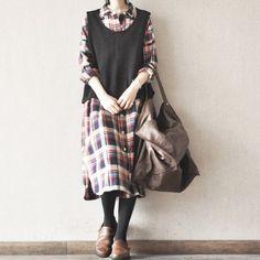 Big Plaid Cotton Casual Loose Long Shirt Two Pocket Dress Tops Women Clothes S0015A