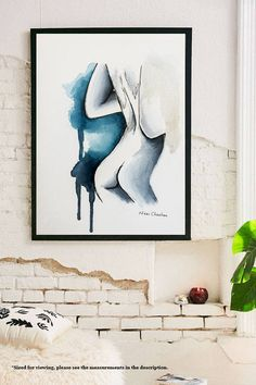 Figure Painting, Nude Woman, Original Watercolor Female Sketch, Bedroom Art, Naked, Bathroom Decor, Minimalist Modern Art, Pen and Ink. by NiksPaintGallery on Etsy