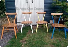 The Happy Chair Company - fun and funky ercol stacking kids chairs, painted with Annie Sloan chalk paints. Cheery!