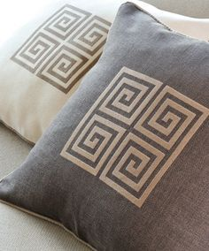 GREEK KEY embroidered pillow covers, decorative throw pillow covers, 20x20 ivory or brown cusion covers
