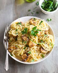 Spaghettini with Mushrooms, Garlic, and Oil Recipe on Food & Wine